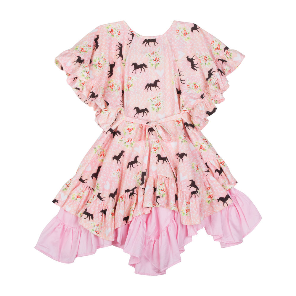Flared Sleeve Frilled Dress - Spring Horse