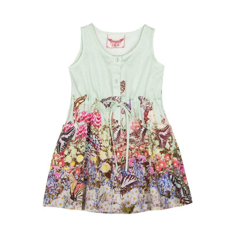 Button Up Shift Dress - Flower Garden