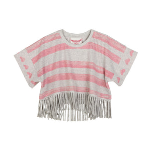 Cropped Poncho - Heart Stripe