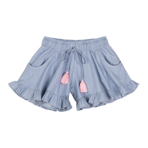 Frilled Shorts - Light Blue