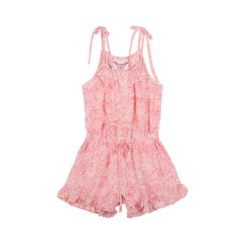 Frilled Romper - Hand Drawn Flowers