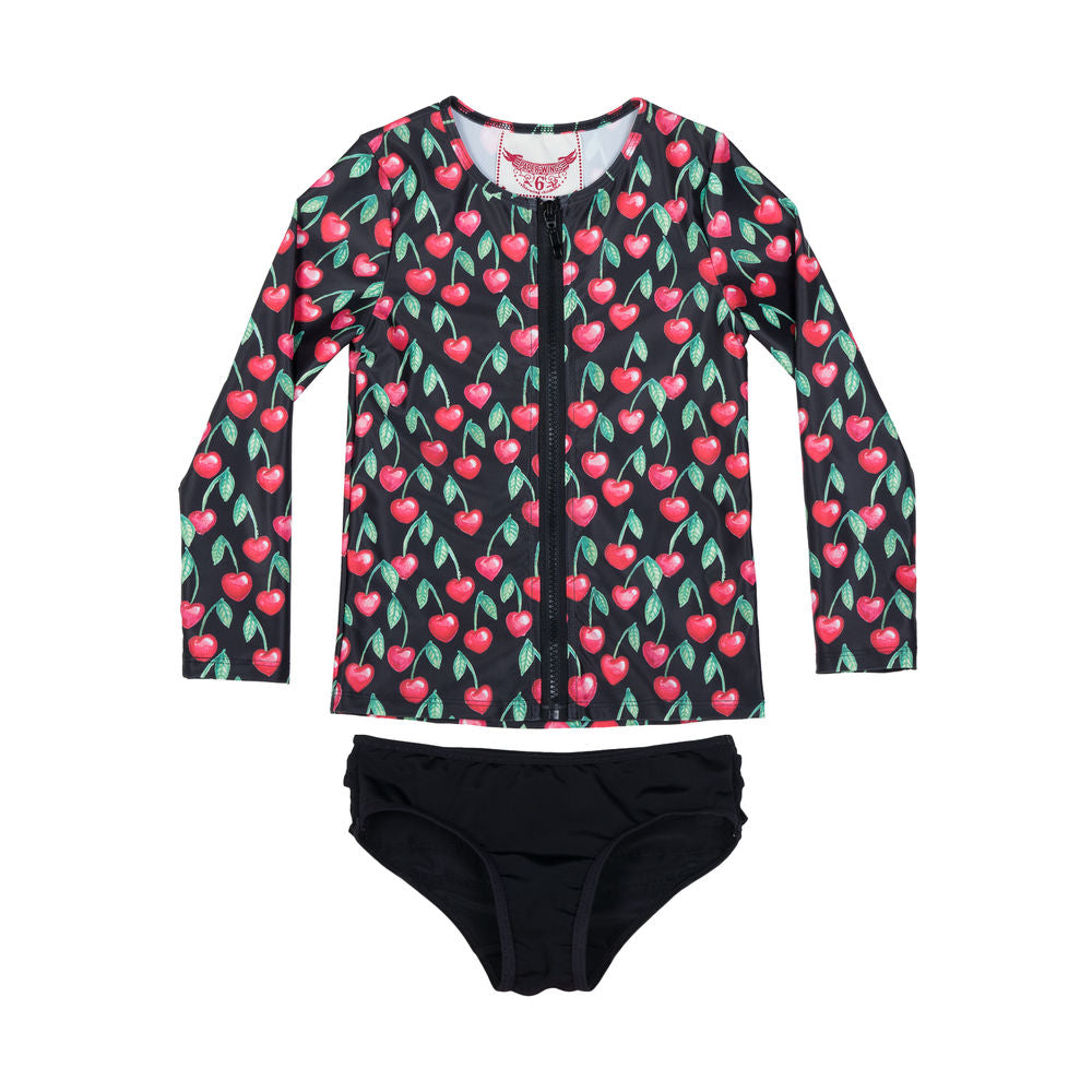 Zip Up Rashie Set - Heart Cherries