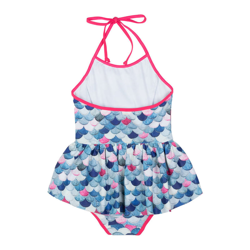 Halter Neck Swimsuit w/ Frill - Mermaid Scales