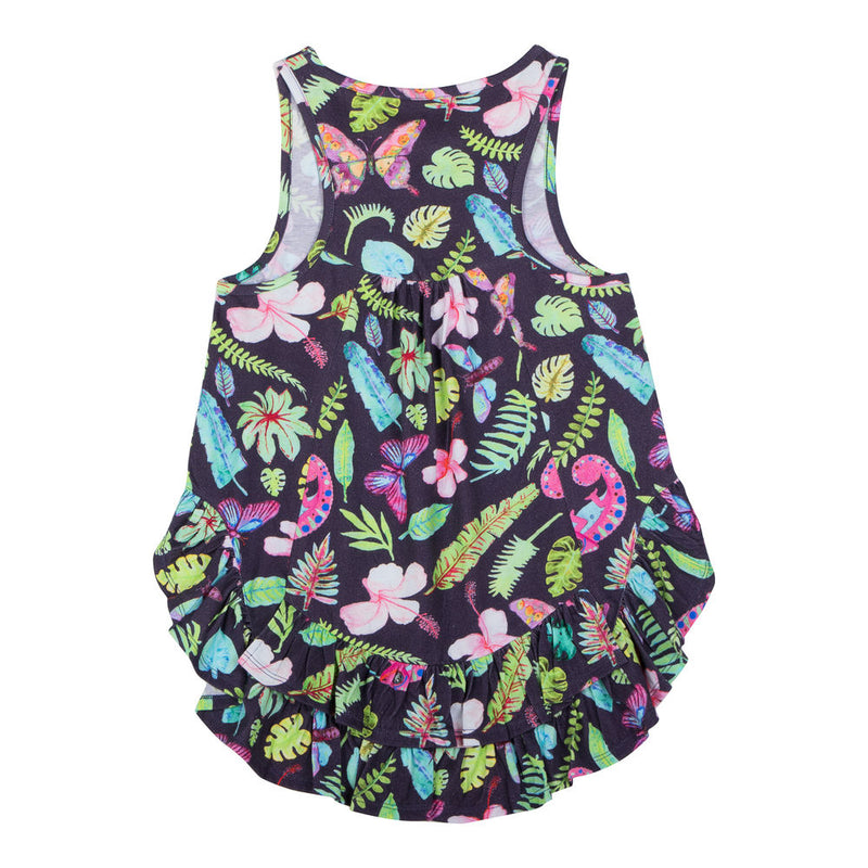 Racer Back Singlet w/ Frills - Tropical
