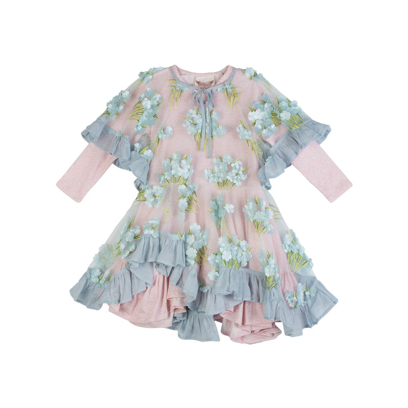 Embroidered Tulle Frill Dress