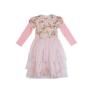 Puff Sleeve Tulle Dress - Vintage Flowers