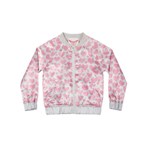 Sateen Bomber - Watercolor Hearts
