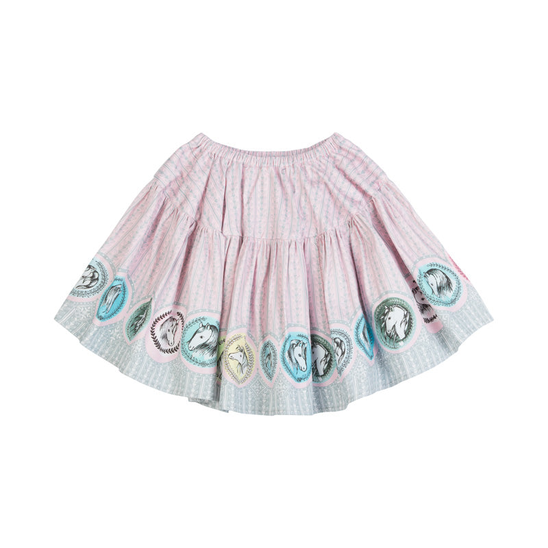Swing Skirt - Horse Cameo Border