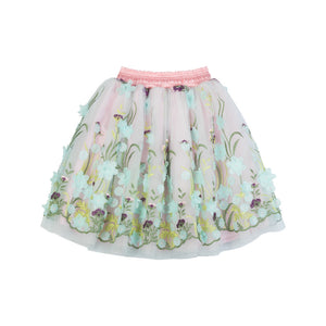 Embroidered Tulle Skirt - Flower Garden