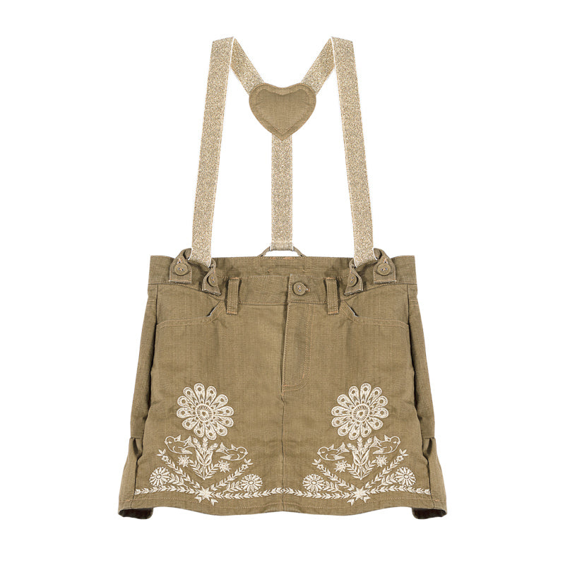 Frilled Skirt with Braces - Folk Embroidery