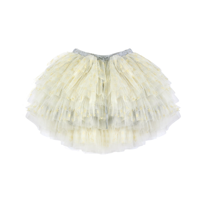 Mesh Skirt - Cream/Gold Stars