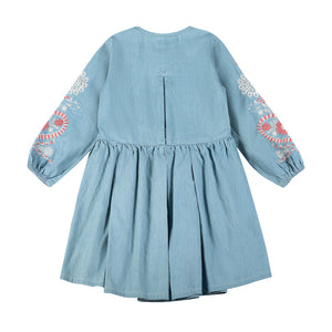 Pleated Dress - Folk Embroidery