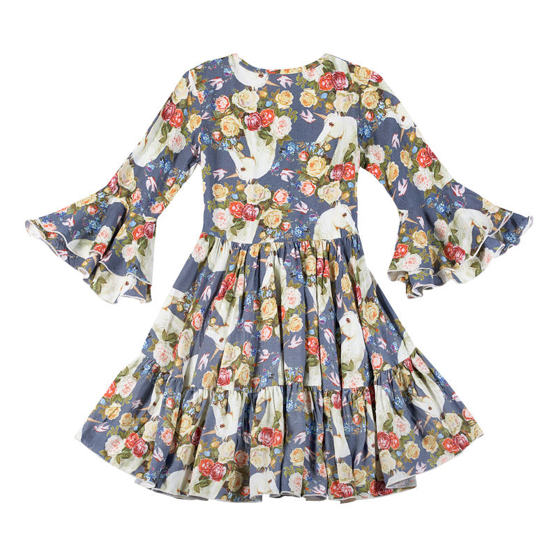 Bell Sleeve Frilled Dress - Rose Unicorn Blue