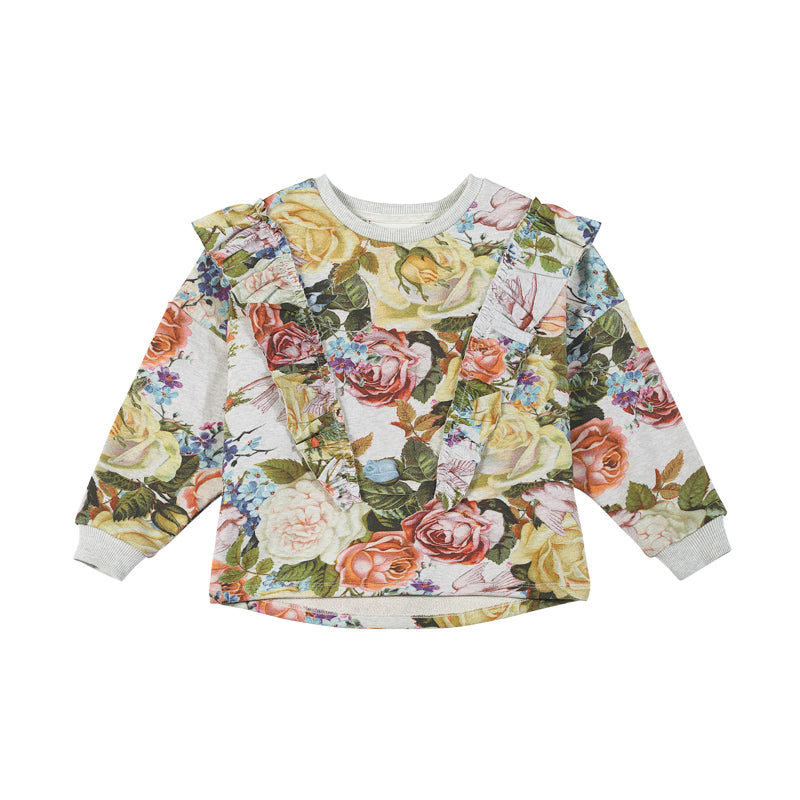 Frilled Sweater - Winter Roses