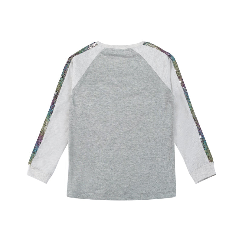 Long Sleeve Raglan T-Shirt - Rainbow Sequin