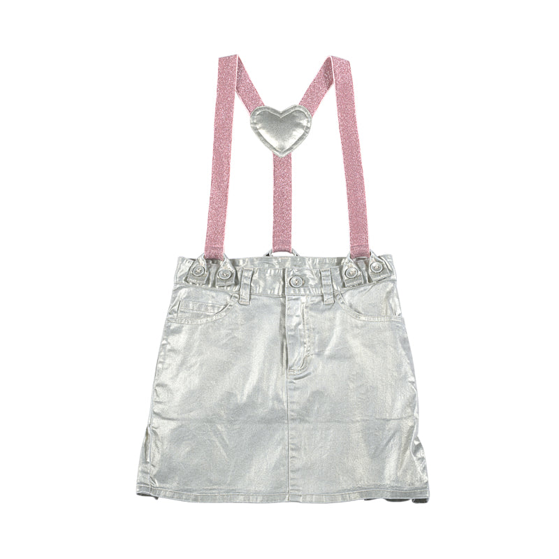 Metallic Frilled Skirt with Braces - Unicorn Embroidery