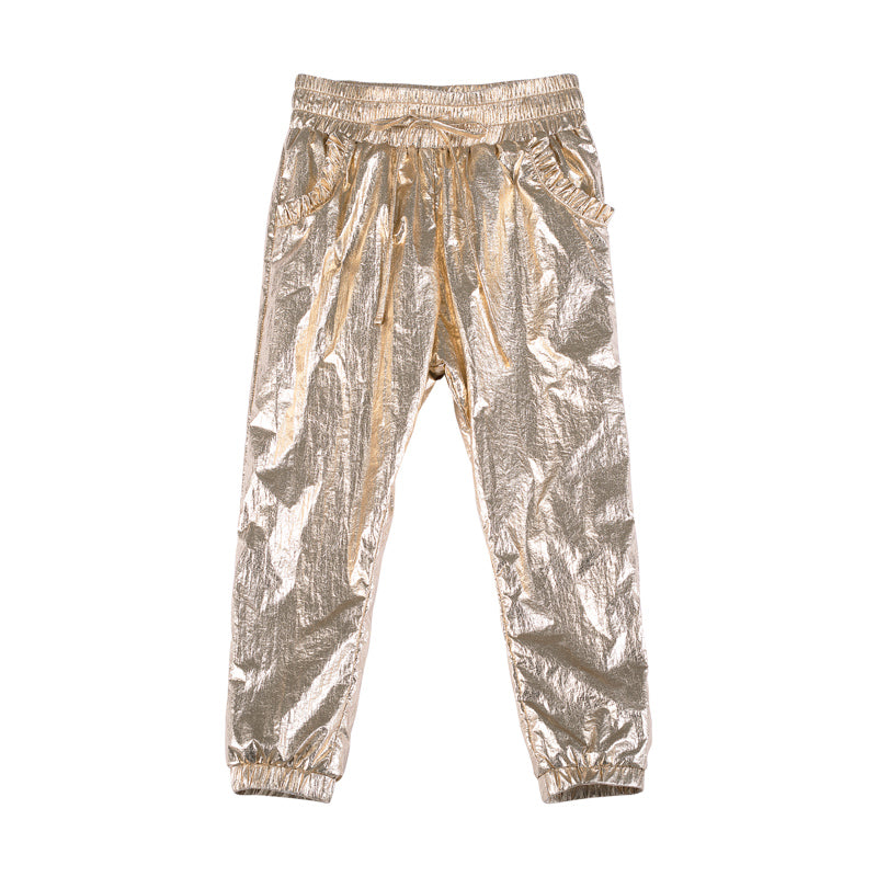 Metallic Frilled Trackies - Gold