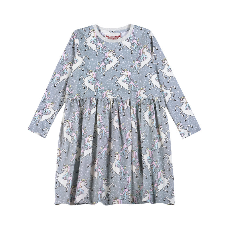 Gathered T-Shirt Dress - Unicorn Disco