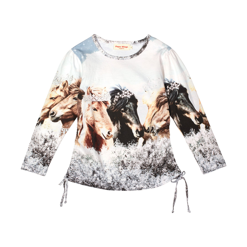 Long Sleeve Drawstring T-shirt - Arctic Bling