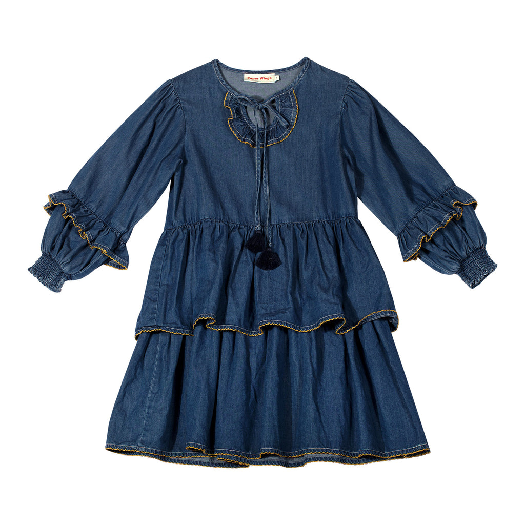 Shirred Dress with Frills