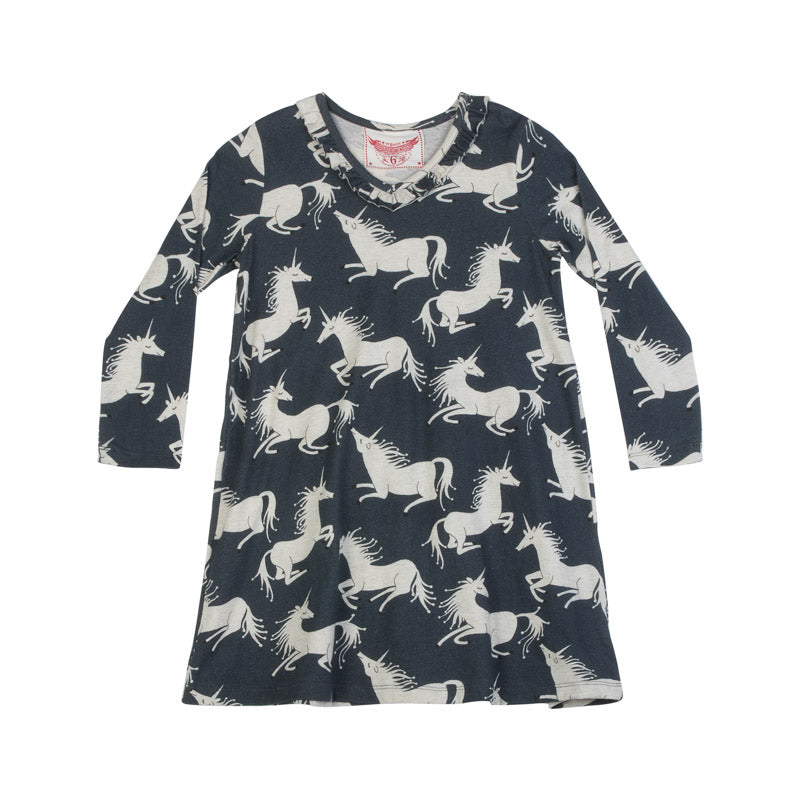 Frilled Shift Dress - Unicorns
