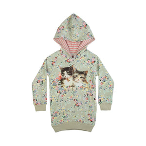 Fleece Hoodie Dress - Vintage Rosie Cats