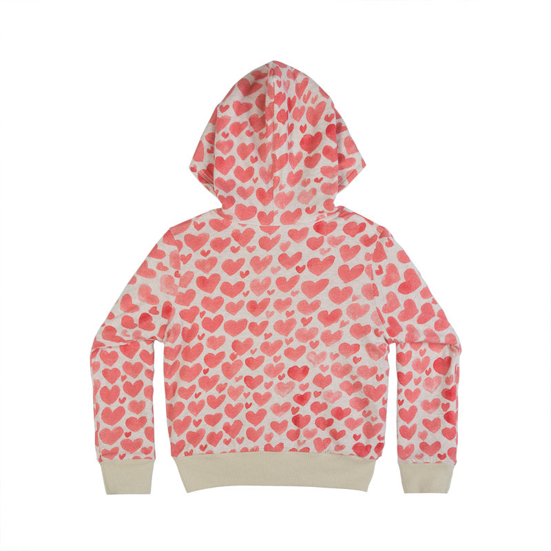 Reversible Velour Hoodie - Watercolor Hearts