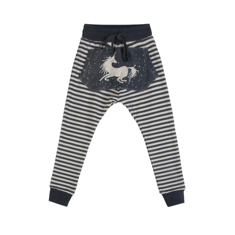 Lined Slouch Trackies - Pocket Unicorn
