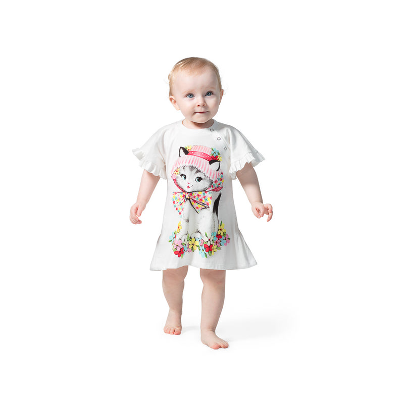 Short Sleeve Frilled Dress - Summer Kitty