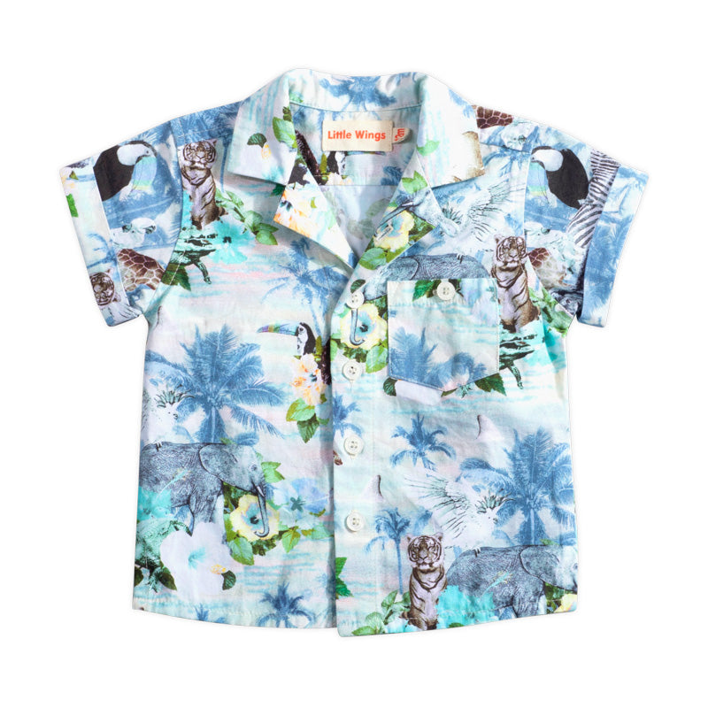 Short Sleeve Shirt - Boys Hawaiian Print