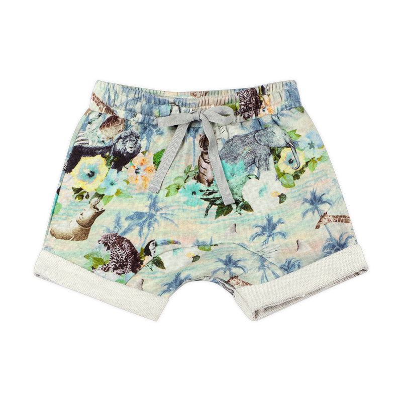 French Terry Shorts - Boys Hawaiian Print