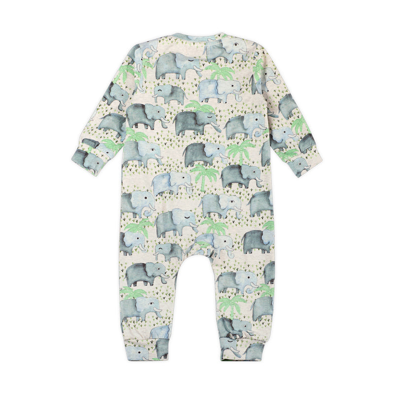 Long Sleeve Romper - Elephants