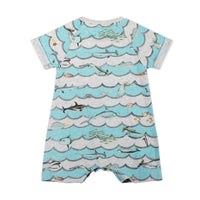 Raglan Cuff Romper - Animal Waves Stripe