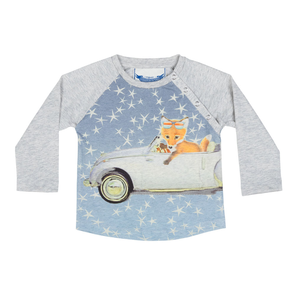 Long Sleeve Raglan T-shirt - Fox In Space