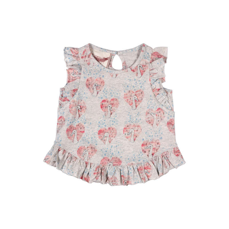 Tank with Frills - Heart Swans
