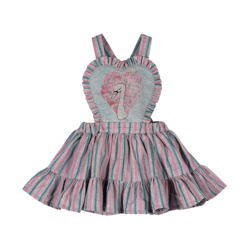 Pinafore Skirt with Braces - Heart Swan