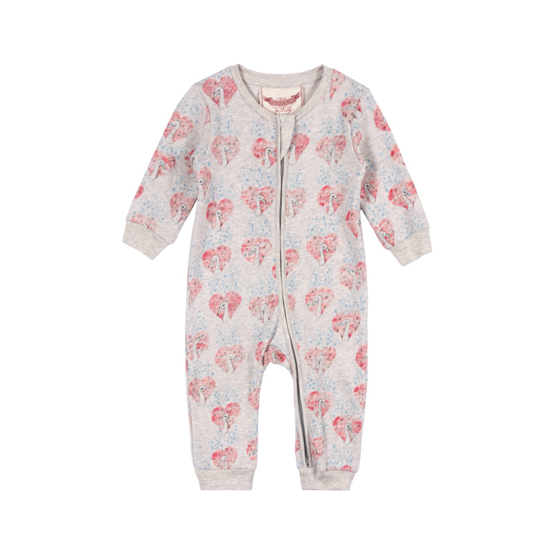 Light Fleece Romper - Heart Swan