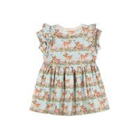 T-shirt Dress with Frills - Butterfly Deer Stripe