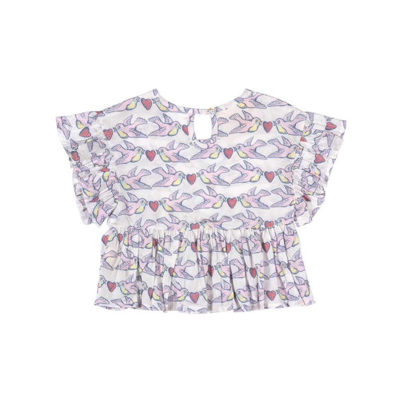 Frilled Smock Top - Berry Birdy