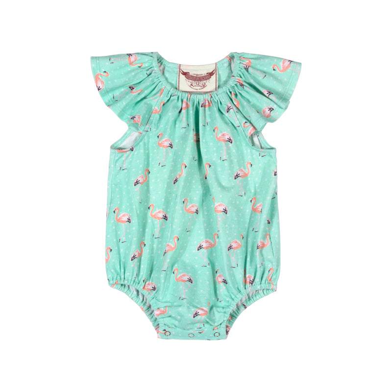 Frilled Shoulder Onesie - Flamingos