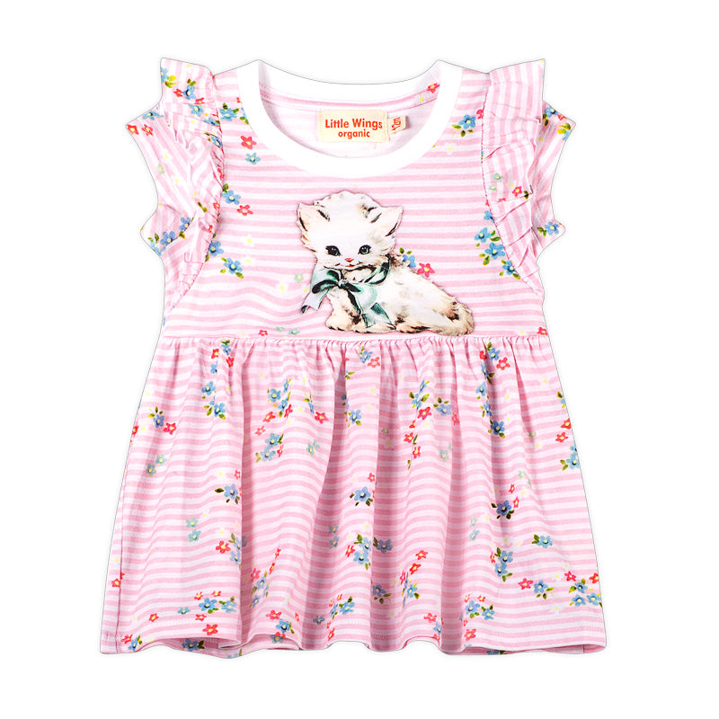 Short Sleeve Frilled T-shirt Dress - Sweet kitten