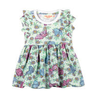 Short Sleeve Frilled T-shirt Dress - Butterfly Daisies