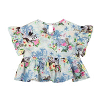 Frilled Smock Top - Hawaiian Print