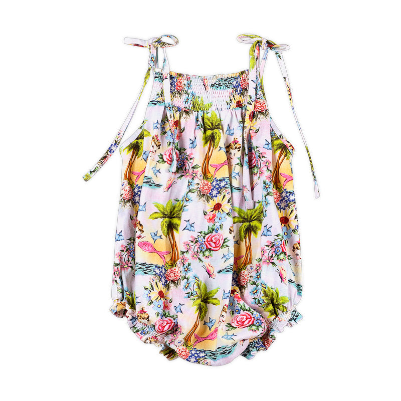 Shirred Romper - Tropical Mermaid