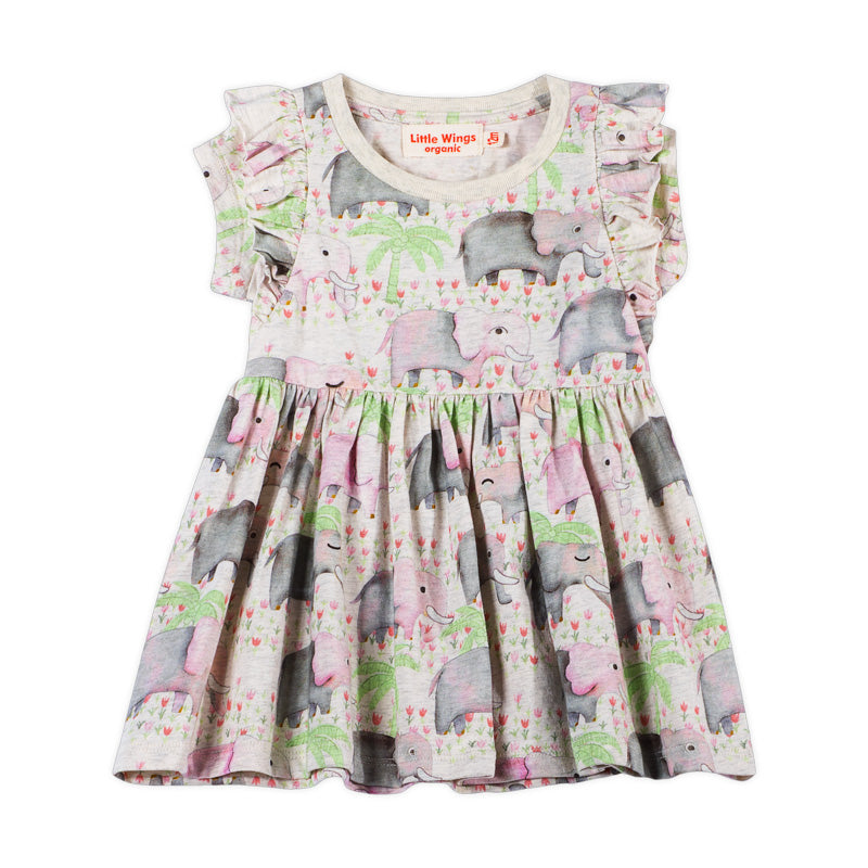 Frilled T-shirt Dress - Elephants