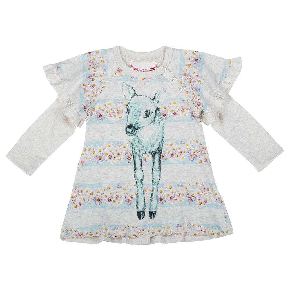 Long Sleeve Frilled Raglan Dress - Daisy Deer