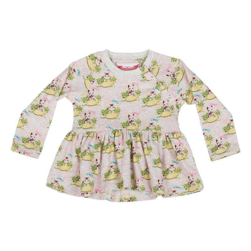 Raglan Long Sleeve Smock T-shirt  - Kittens and Puppies