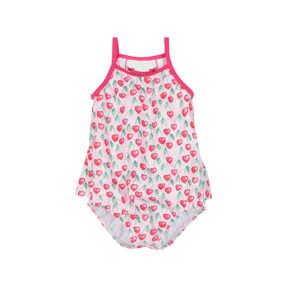 One-piece Swimsuit w/ Frill - Heart Cherries