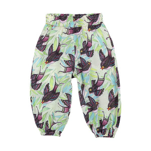 Shirred Harem Pants - Tropical Birds