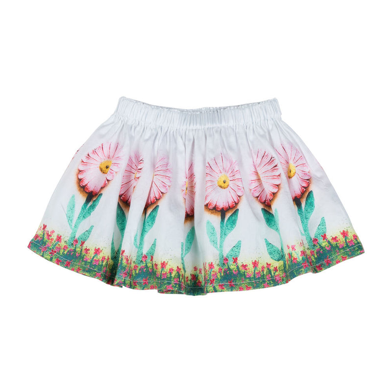Gathered Skirt - Daisies Border